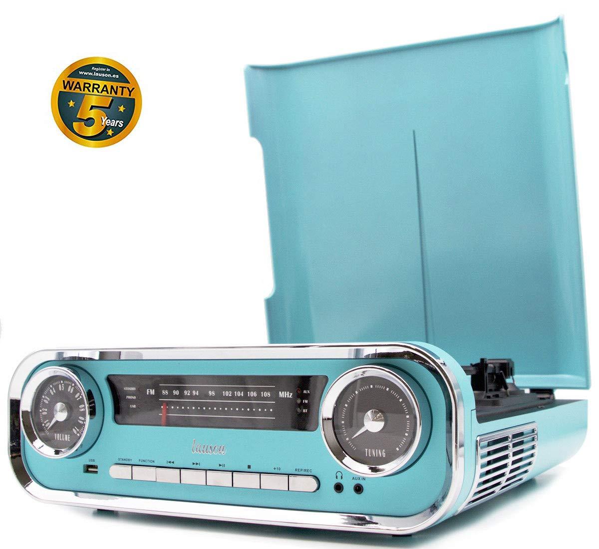 Lauson 01TT18 Tocadiscos Diseño Vintage Coche de Colección con 2 Altavoces Estéreo Integrado de 3 W | Tocadisco Vinilo con Radio FM, Función ...