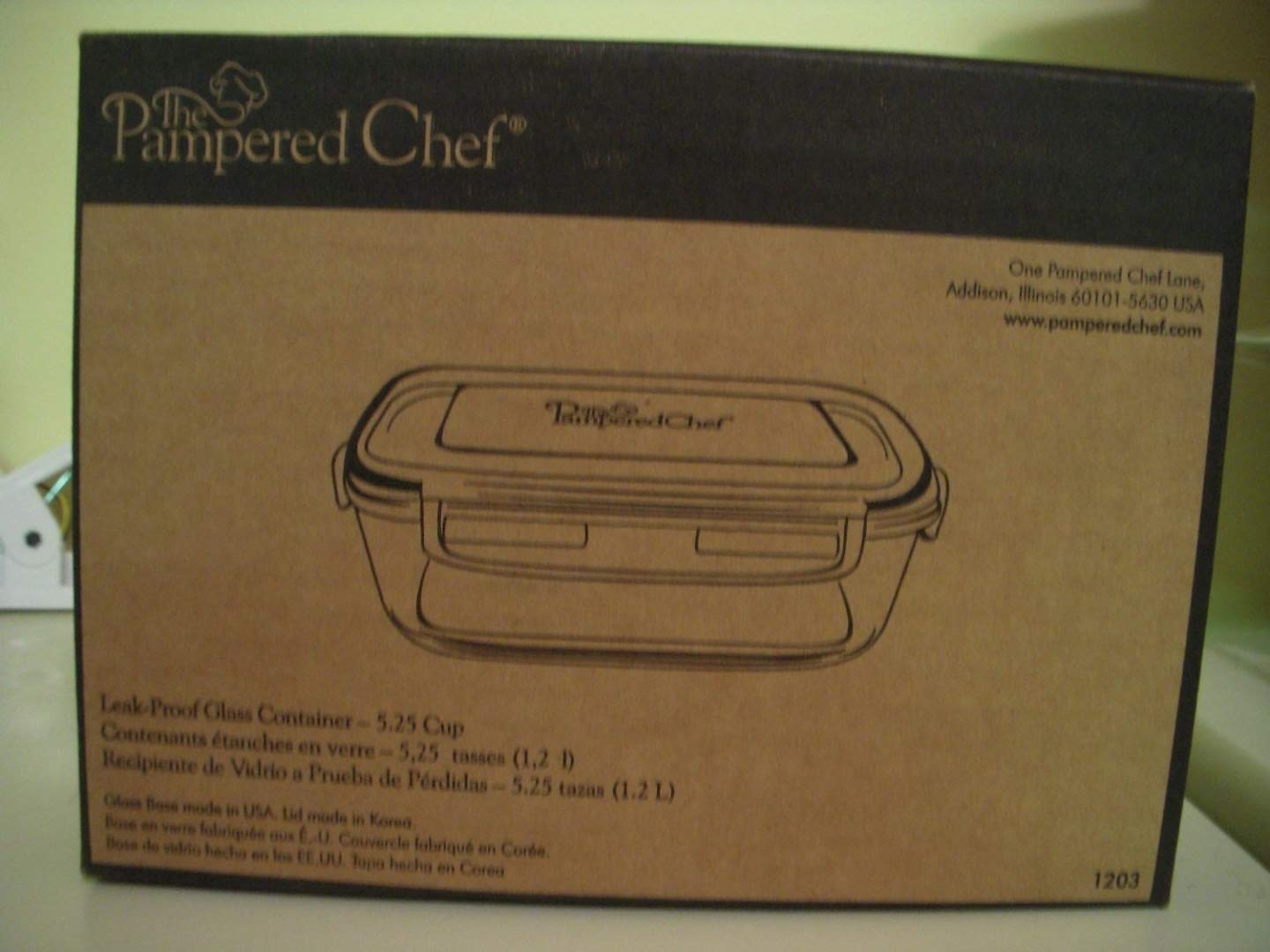 Pampered Chef 5 1/4-cup Rectangle Leakproof Glass Container with Lid The Pampered Chef 1203