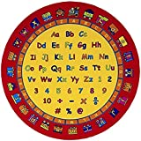 PRO RUGS ALPHABET NUMBERS TRAIN KIDS EDUCATIONAL NON-SLIP/GEL BACK AREA RUG CARPET YELLOW, RED, MULTI COLOR (ABC FUN) (8 Ft X 8 Ft Round)