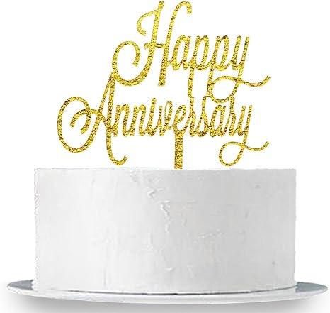Amazon Com Innoru Happy Anniversary Cake Topper Birthday Wedding Anniversary Party Decoration Supplies Photo Props Toys Games