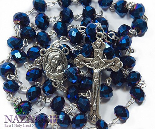 (Christian Rosary With Deep Blue Crystals Beads Jerusalem Necklace Jesus Crucifix Holy Land)