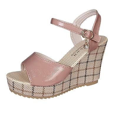 Ansenesna Damen Sandalen Keilabsatz Plateau Wedge Peep Toe 10cm, Knöchel Schnalle Offen Vintage Sommerschuhe