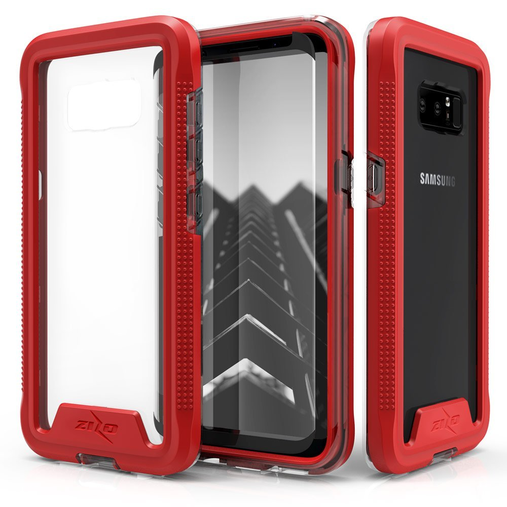 Zizo ION Series compatible with Samsung Galaxy Note 8 Case Military Grade Drop Tested with Tempered Glass Screen Protector RED CLEAR