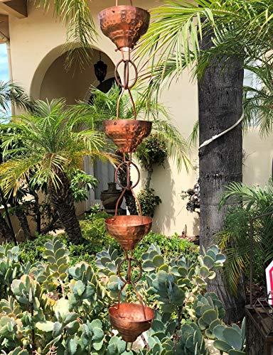 Monarch Pure Copper Eastern Hammered Cup Rain Chain, 8-1/2-Feet Length by Monarch Rain Chains (Image #2)