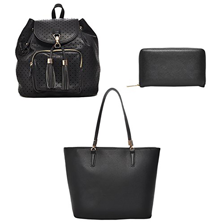 Gift Set Including 2 Handbags and 1 Wallet (Black Backpack, Black Tote & Zipper Wallet)