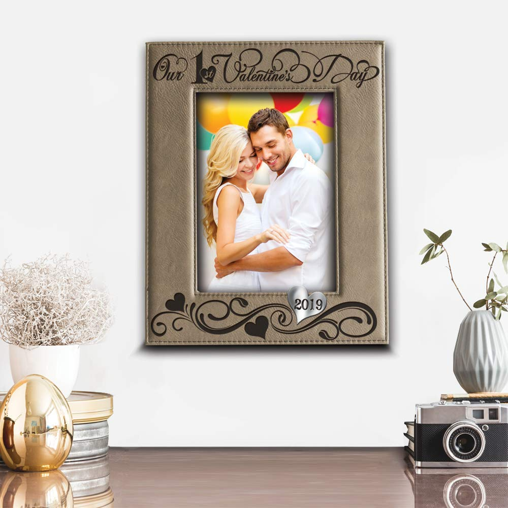 Valentines Day 2019-valentines Day Gifts for her BELLA BUSTA Our First Valentines Day Picture Frame Engraved Leather Picture Frame 5x 7 Horizontal