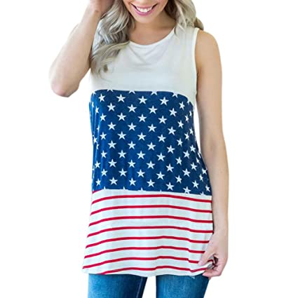 01c31bb17c04f Women Summer Lace Sleeveless Striped Star Print Blouse Tank Top T Shirts  Independence Day Clothes (
