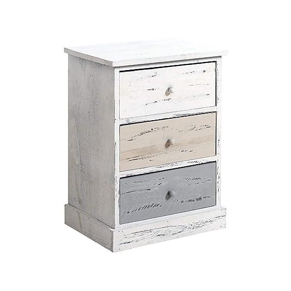 Rebecca Mobili Cómoda decapada, mesita de noche con 3 cajones, madera de paulonia, gris beige blanco, estilo retro, cuarto de baño - Medidas: 53,5 x ...