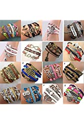 16pcs Handmade Braided Multi Layers Vintage Woven Rope Wrap Bangle Bracelets - Infinity Love Best Friend