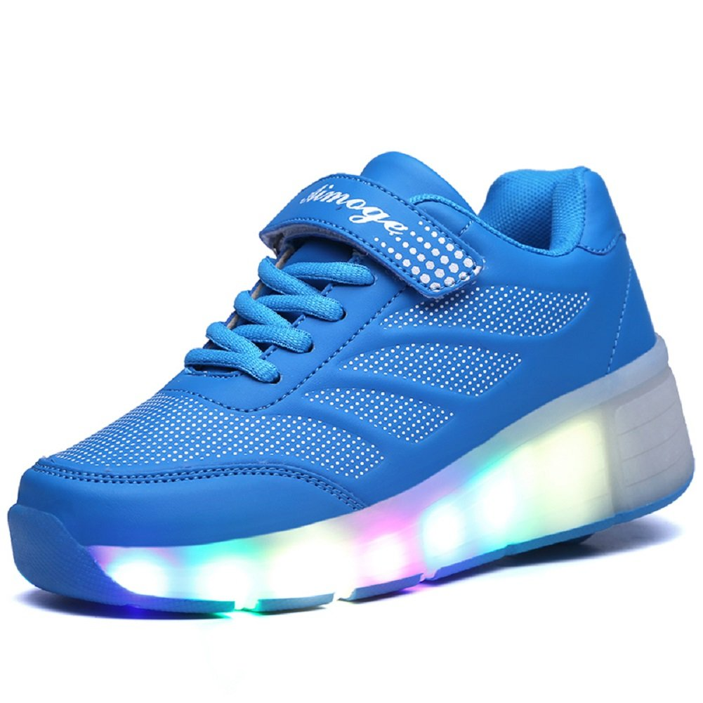 Amazon.com | YCOMI Girl's Boy's LED Light roller shoes with single wheel skate sneaker (30 Eur / 13 M US Little Kid, Pink) | Sneakers