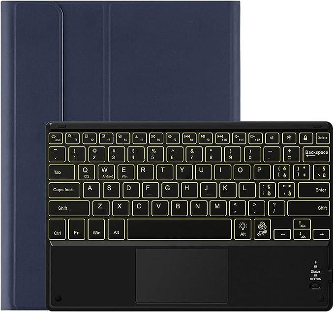 HaoHZ Funda Teclado para Galaxy Tab S7 Plus 12.4 2020, Teclado Español Ñ Bluetooth Inalámbrico Retroiluminado de 7 Colores con Panel Táctil, Cubierta ...