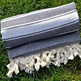 Dandelion - Basic Pattern - Naturally-Dyed Cotton Turkish Towel Peshtemal - 71x39 Inches - Black