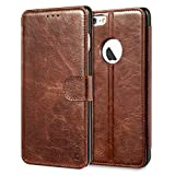 iPhone 6s Plus Case, Benuo [Built-in Slots Series] [Magnetic Snap] Classic Genuine Leather Case, Flip Cover [2 Card Slots] [Ultra Protective] with Stand for Apple iPhone 6 Plus / 6s Plus(Brown)