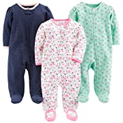 Simple Joys by Carter's Baby Girls' 3-Pack Sleep and Play, Pink Floral, Blue Floral, Navy Dot, Newborn
