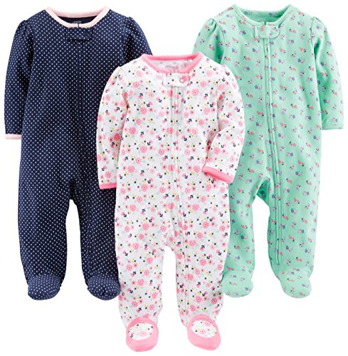 Simple Joys by Carter's Baby Girls' 3-Pack Sleep and Play, Pink Floral, Blue Floral, Navy Dot, Preemie