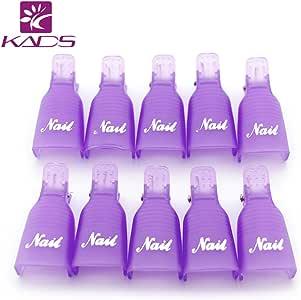 KADS Acrylic Nail Art Soak off Cap Clip 10 Pcs Reusable Plastic UV Gel Polish Remover Wrap Cleaner Clip Cap Tools (Purple)