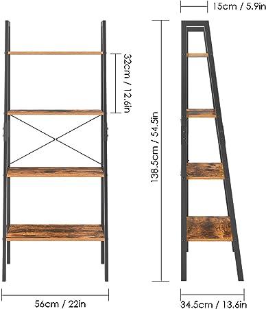 Homfa Estantería Escalera Librería de Pared Estantería Metálica para Salón Terraza Dormitorio con 4 Niveles Vintage y Negro 56x34.5x138cm