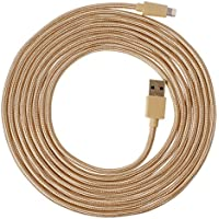 Zikko Apple MFi Certified 16 Feet (5 Meters) Long Nylon Braided USB to Lightning Cable for iPhone iPad iPod, Durable and Strong, Charge and Sync Cable, 2.4A (Gold)
