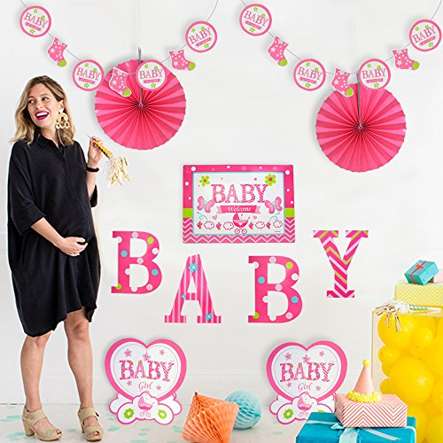 """Price comparison product image Baby Shower Decoration Kit for Girl Suitable for Room and Party Decorations , 14"""",Pack of 10,Pink Theme"""