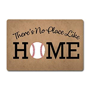 ZQH WelcomeDoor Mats There's No Place Like Home Doormat Baseball Door Rugs Home Plate Door Mats (23.6 X 15.7 in) Non-Woven Fabric Top with a Anti-Slip Rubber Back Door Rugs Hello Doormat