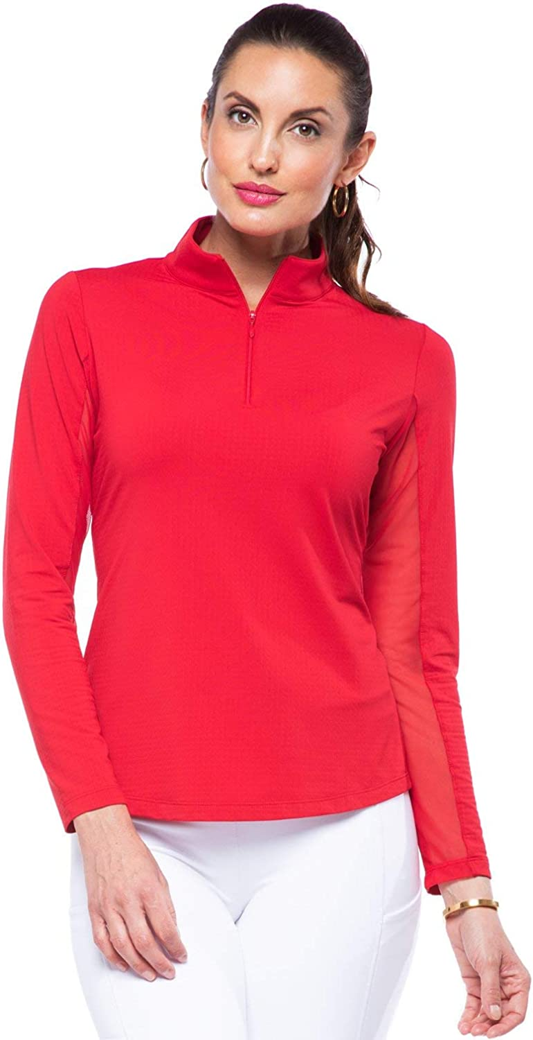 IBKUL Women's Sun Protective UPF 50+ Cooling Long Sleeve Mock Neck Shirt - 80000