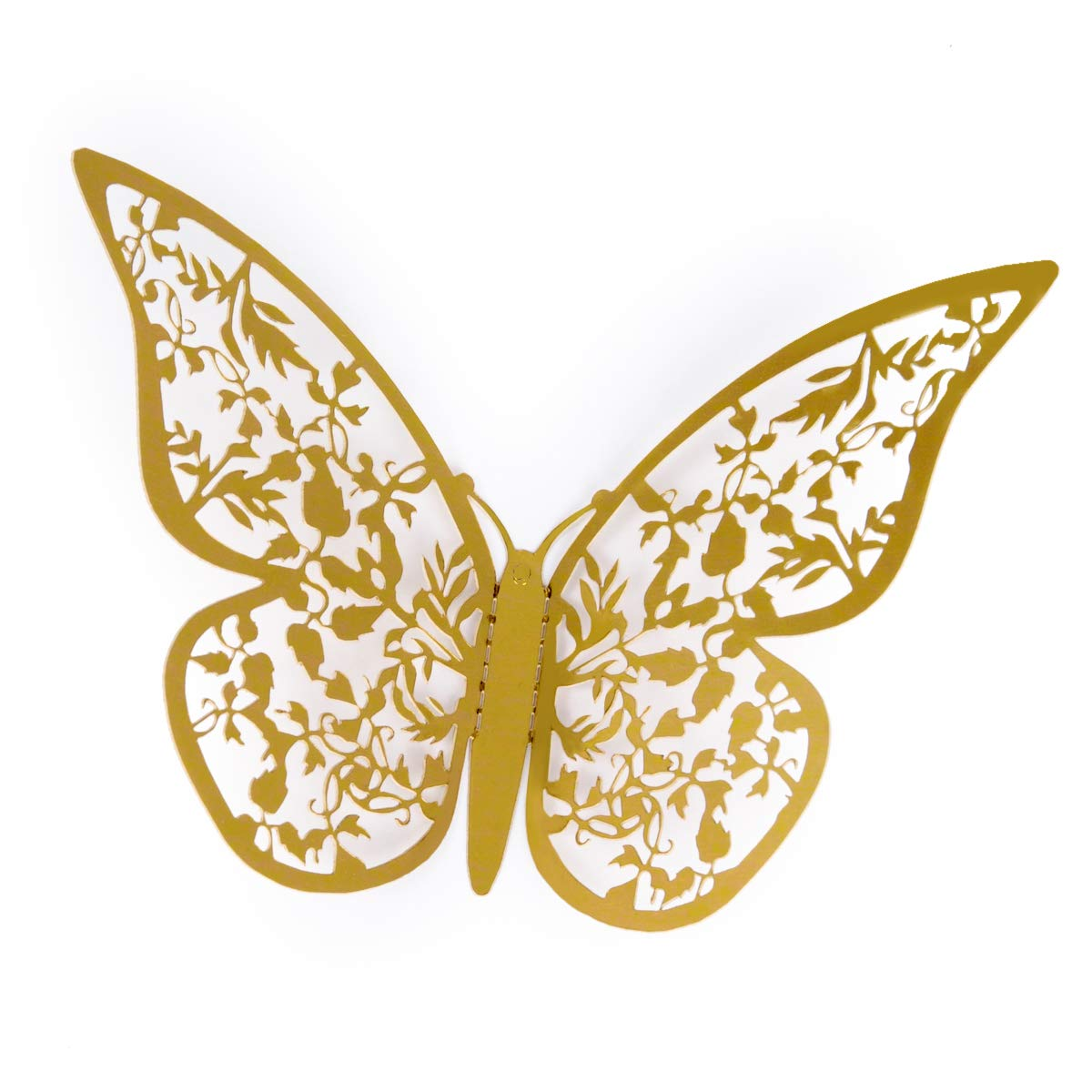 Amazon.com: aooyaoo 12Pcs Golden 3D Butterfly Man-made Removable Art ...