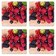 Luxlady Natural Rubber Square Coasters IMAGE ID: 22705577 Strawberries red currants raspberries and mulberry on a wooden background