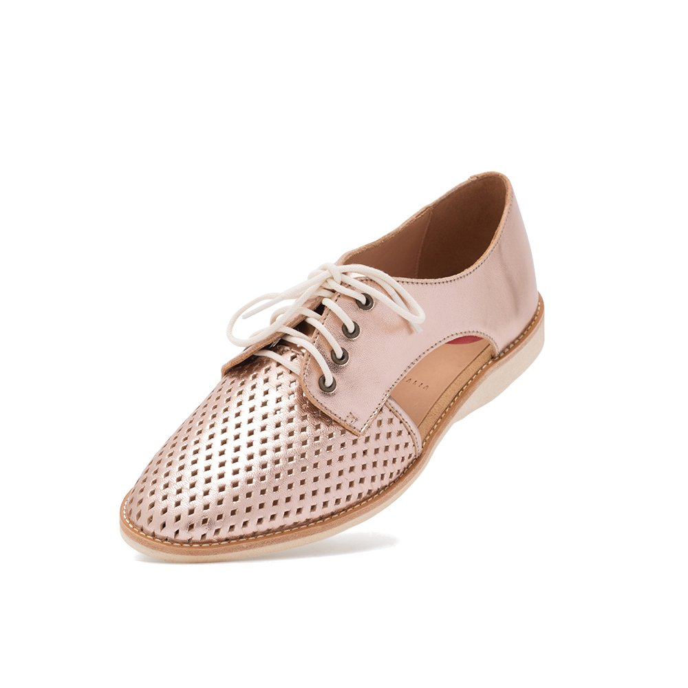 Rollie Women's Lightweight Sidecut Punch Perforated Lace-up Flat Derby Shoe with Cut Out Sides B078S2F27M 38 M EU|Rose Gold