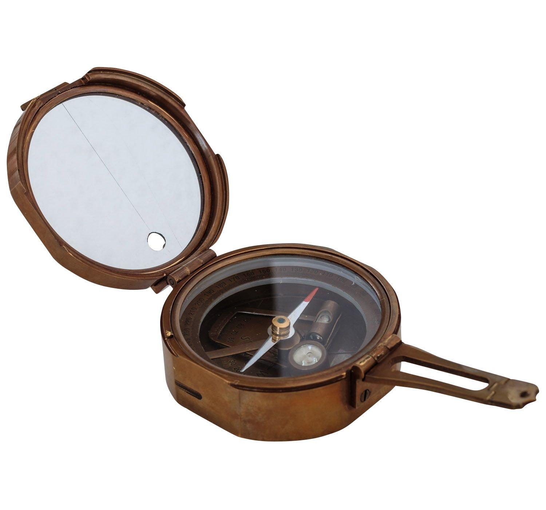 Kompass Peilkompass Maritim Navigation Messing Glas Antik-Stil Replik 9cm (a)