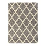 Sweet Home Stores Cozy Shag Collection Moroccan Trellis Design Shag Rug Contemporary Living & Bedroom Soft Shaggy Area Rug, Grey & Cream, 60'' L x 84'' W