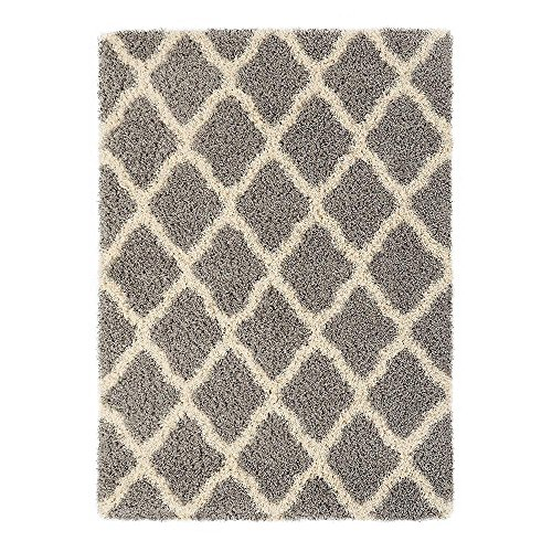Sweet Home Stores Cozy Shag Collection Moroccan Trellis Design Shag Rug Contemporary Living & Bedroom Soft Shaggy Area Rug, Grey & Cream, 60'' L x 84'' W by Sweet Home Stores