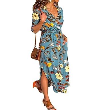 635db0deec1 Women s Button Down Collar Long Sleeve Casual Long Maxi Dresses Waist  Sundresses Split Shirt DressFloral Blue
