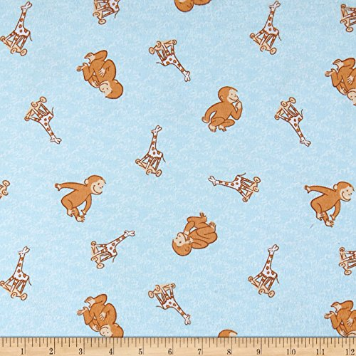 (Springs Creative Products Universal Curious George Cotton Flannel Toyland Baby Blue Fabric by the Yard)