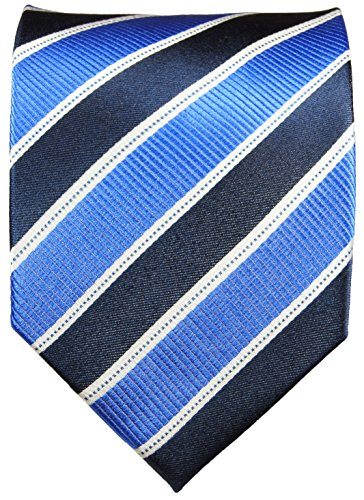 Paul Malone Stripes Necktie 100% Silk Blue, White and Navy