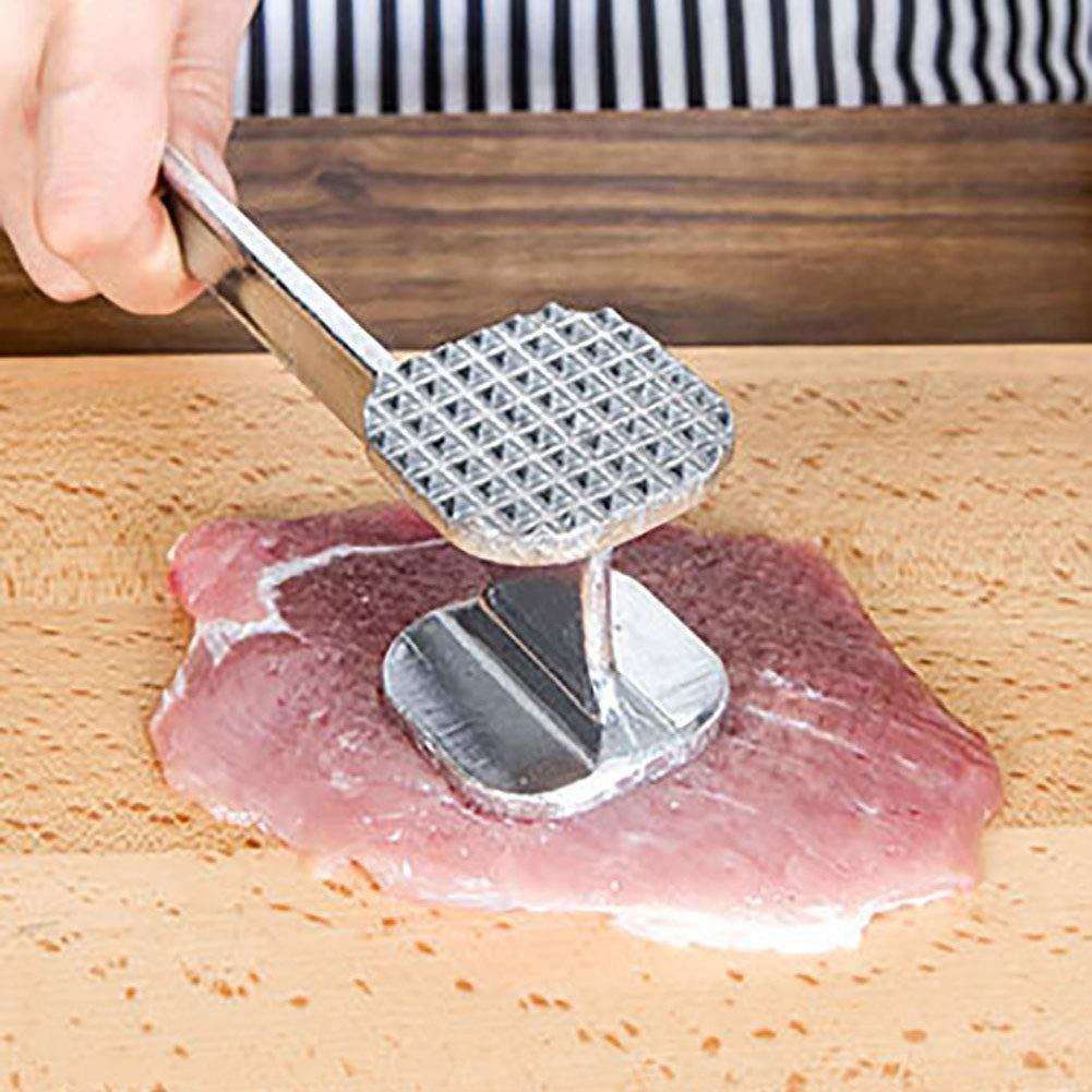 maza para Carne Mazo para Carne de Acero Inoxidable Martillo de Doble Cara 20 cm 1 Unidad Martillo para Carne mazo para Carne Martillo para Carne Aluminio Yissma