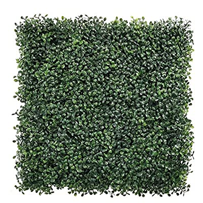"""ULAND 12 Pcs Pack 20"""" by 20"""" Size Artificial Faux Hedges DIY Panels, Boxwood Greenery Ivy Privacy Fence Landscaping Screening Green Wall, for Home Garden Balcony Outdoor Indoor Decoration"""