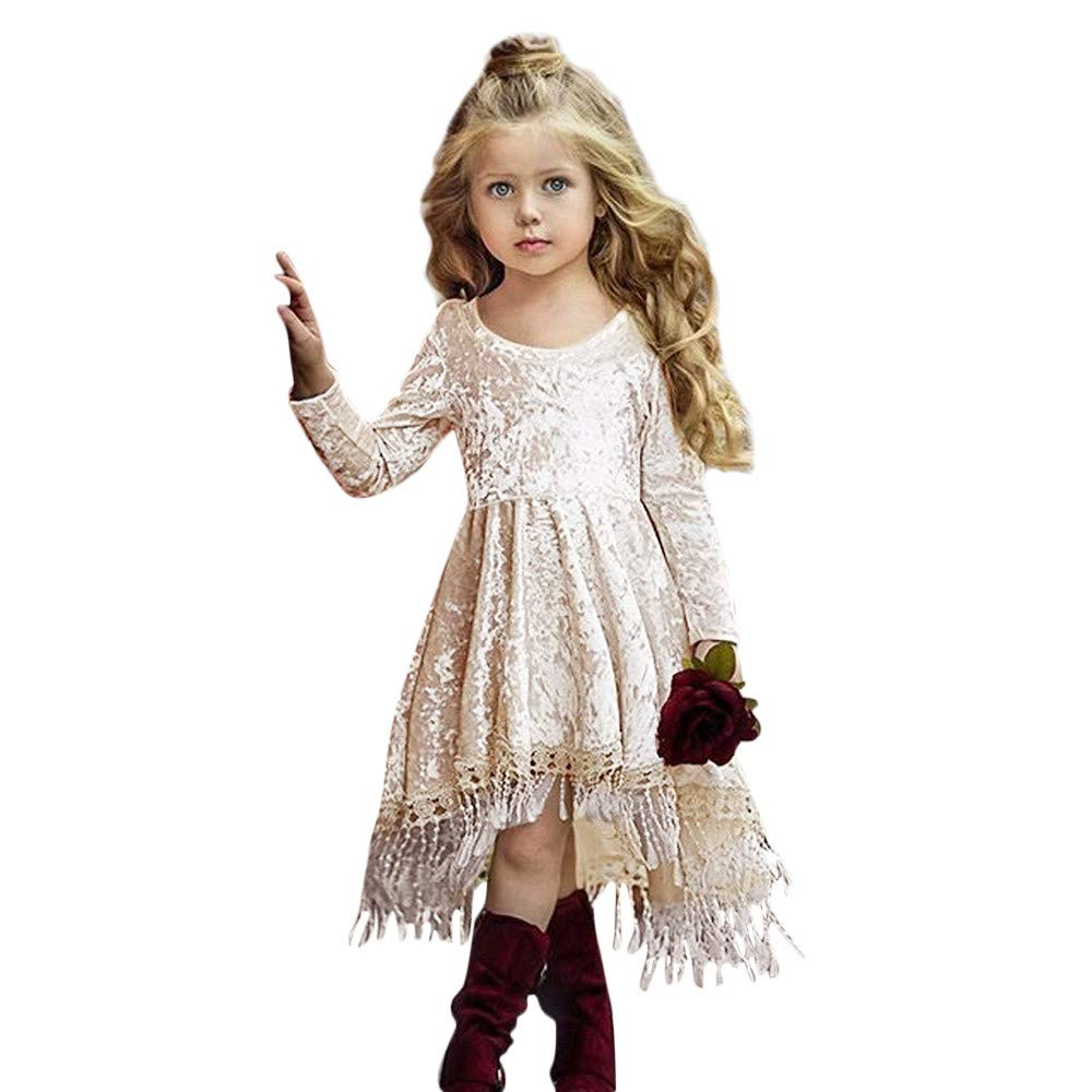 Muium Toddler Baby Girls Solid Tassel Dress Long Sleeve Skirts Party Costume Outfits 0-4 Years Old