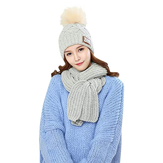 1e54b9409cb Yezijin 2Pcs Women Winter Warm Knitted Soft Stretch Beanie Hat+Scarf Keep  Warm Set (