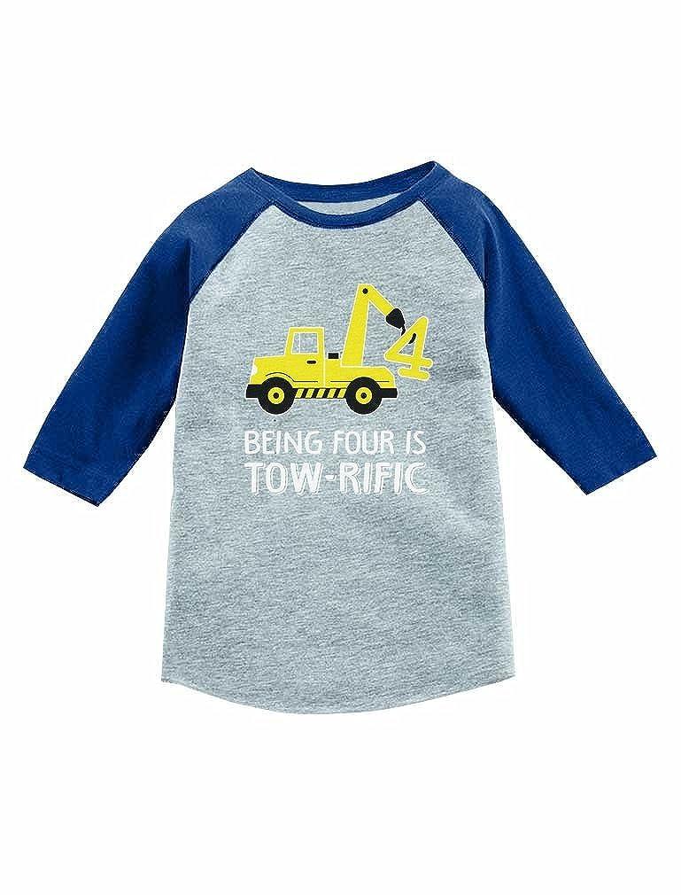 Tstars 4th Birthday Tractor Construction Party 3//4 Sleeve Baseball Jersey Toddler Shirt