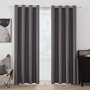 MIULEE Blackout Curtains Room Darkening Thermal Insulated Drapes Solid Window Treatment Set Grommet Top Light Blocking Curtain for Living Room / Bedroom 2 Panels 52 x 84 inch Grey