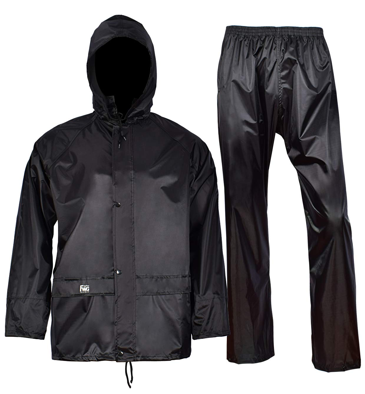 Rain Jacket with Pants for Men Women Waterproof Rain Coat 3-Pieces Ultra-Lite Suits (Large, Black) by FWG (Image #2)