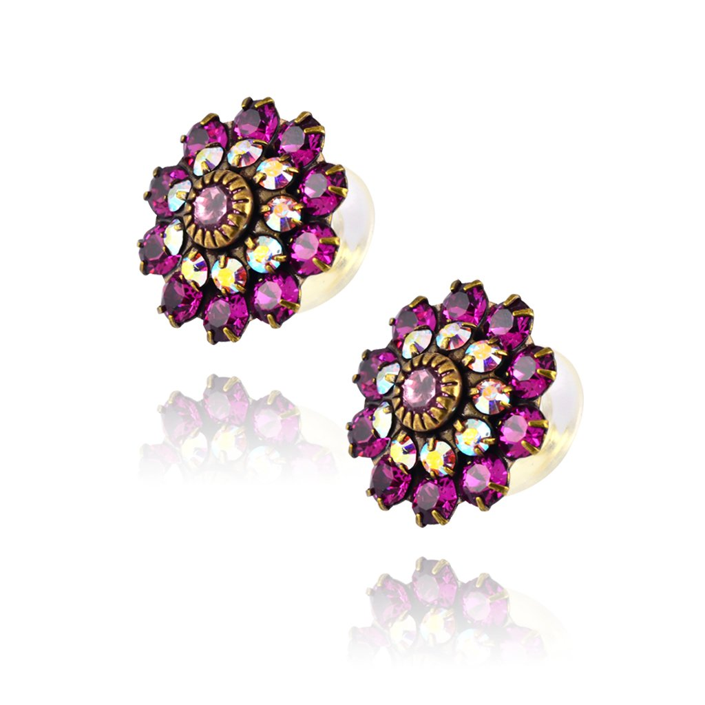Vintage Brass and Purple Crystal Earrings