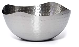 "Bezrat Hammered Stainless Steel Serving Bowl –Multipurpose Decorative Metal Wave Bowl (11.8"" x 11.8"")"