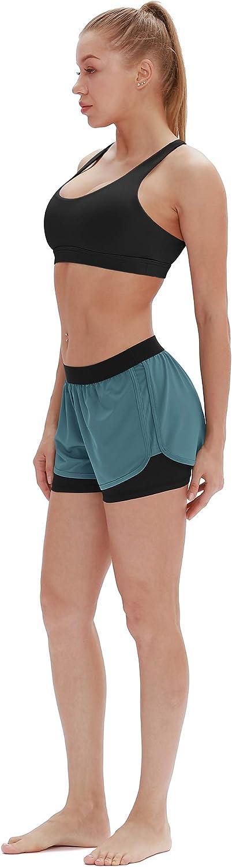 icyzone 2 en 1 Pantal/ón Corto para Mujer para Correr