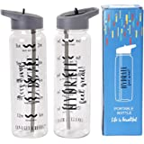 24oz Water Bottle with Measurements, Time Marker Inspirational Fitness Workout Sport Travel Water Bottle,Large Capacity Tritan BPA Free Drinking Bottle with Straw,Non-Toxic