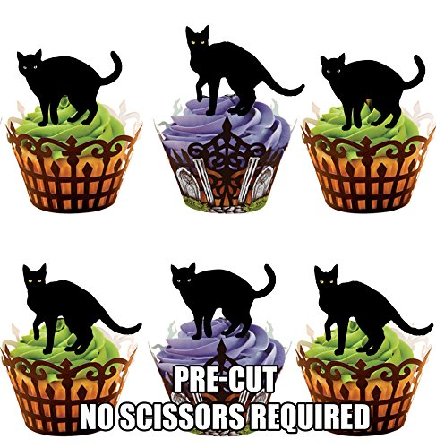 AKGifts Halloween Black Cats, 12 Cup Cake Toppers, Edible Stand Up Decorations (7 - 10 BUSINESS DAYS DELIVERY FROM UK) (Halloween Cupcake Decorations Edible)