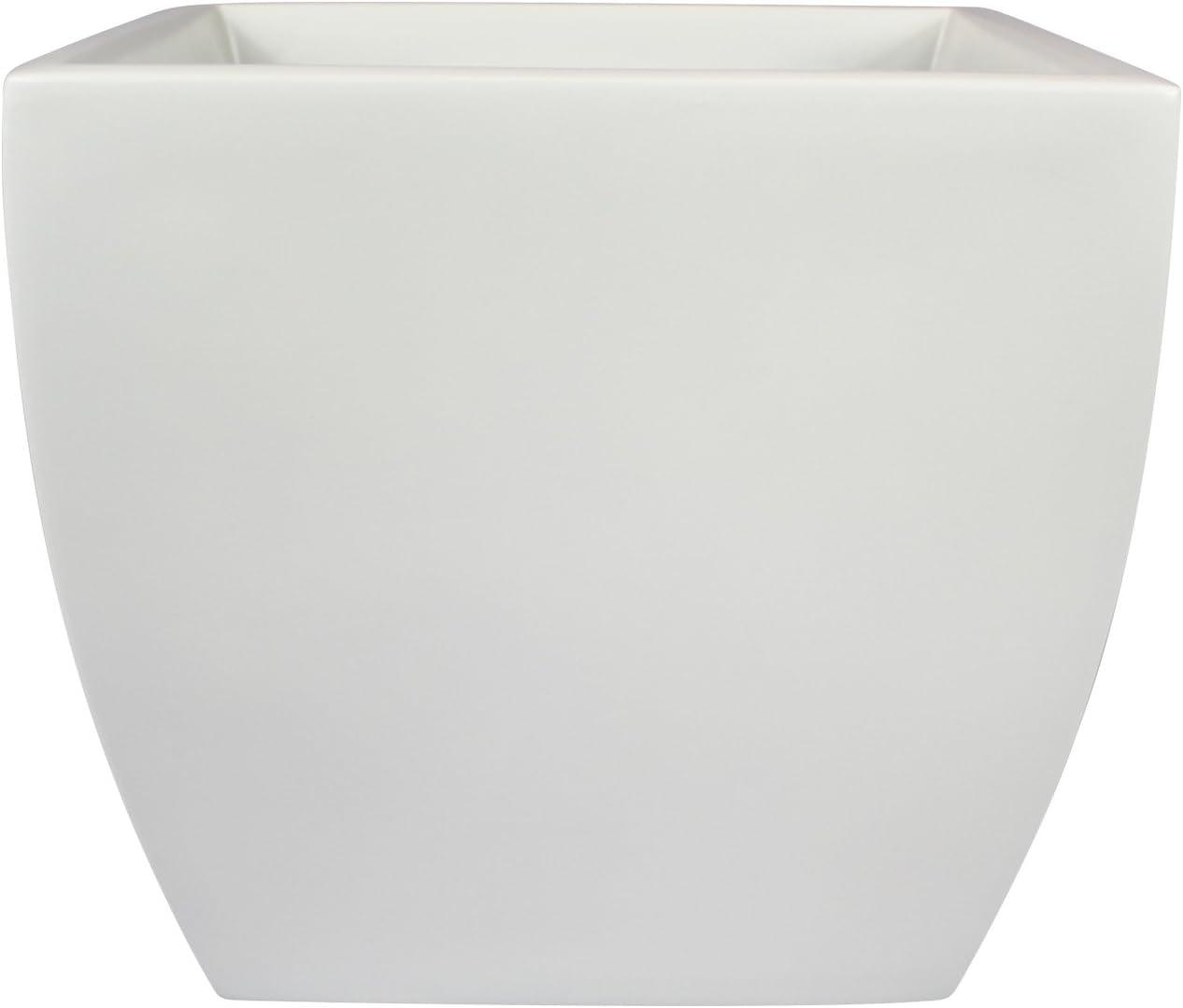 Pacifica Square Curved Fiberglass Planter, White, 16 Inch