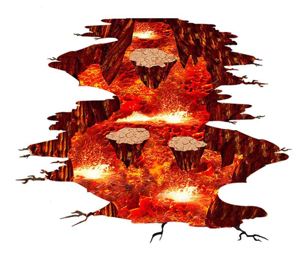 Quanhaigou A Volcano Spouts Flame and Lava Wall Decals, Removable Red Sticker, The Art Magic 3D Fire Lavas Dreamscape Home Decor