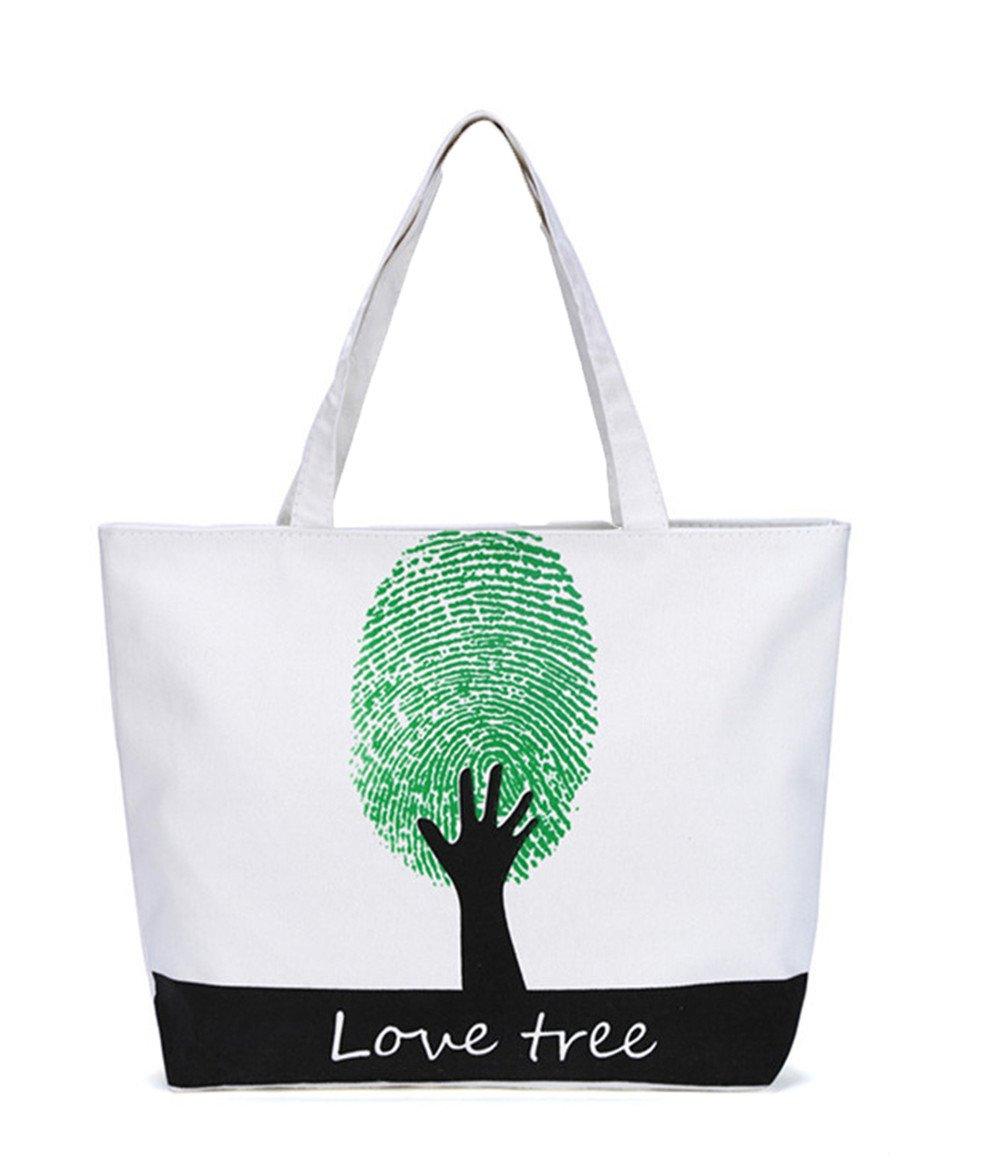 ladies girls fashion letter fingerprint hand print canvas basket tote bag shoulder handbag,white