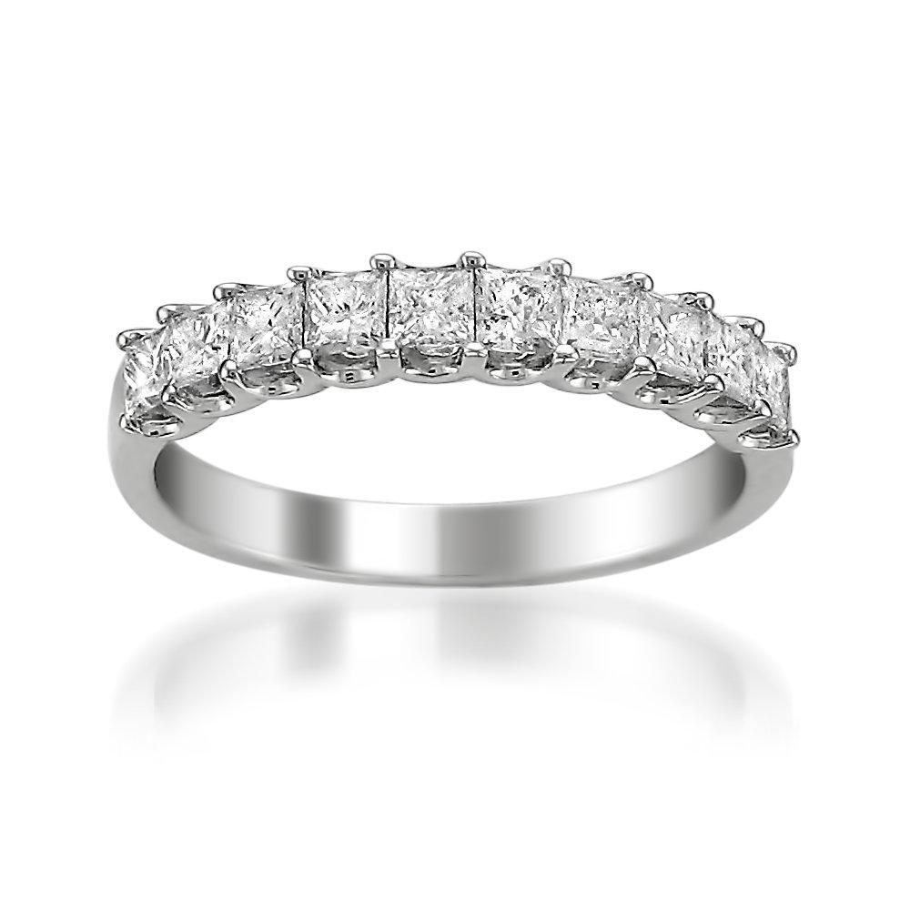La4ve Diamonds Platinum Princess-cut Diamond Bridal Wedding Band Ring (1 cttw, H-I, VS2-SI1), Size 6
